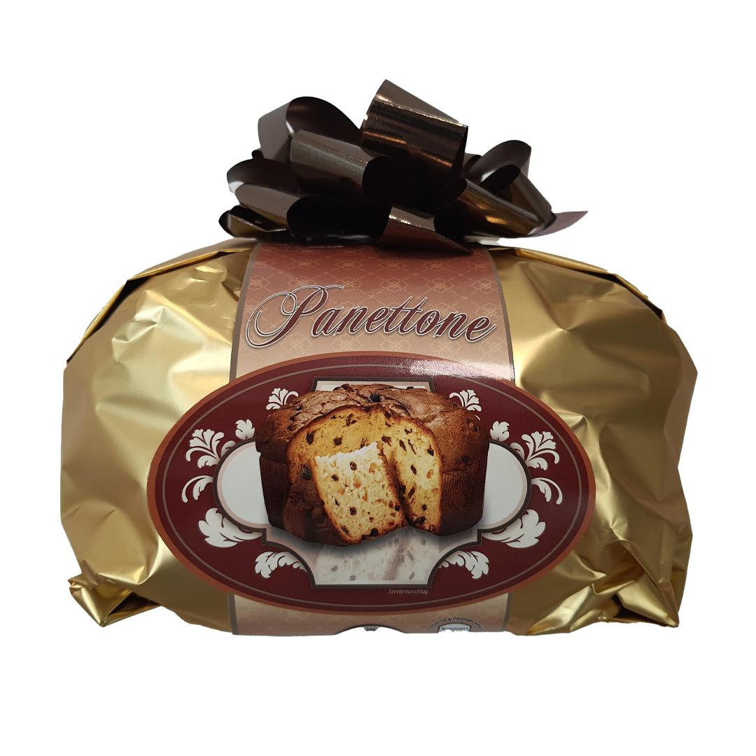 Panettone auksinėje pakuotėje
