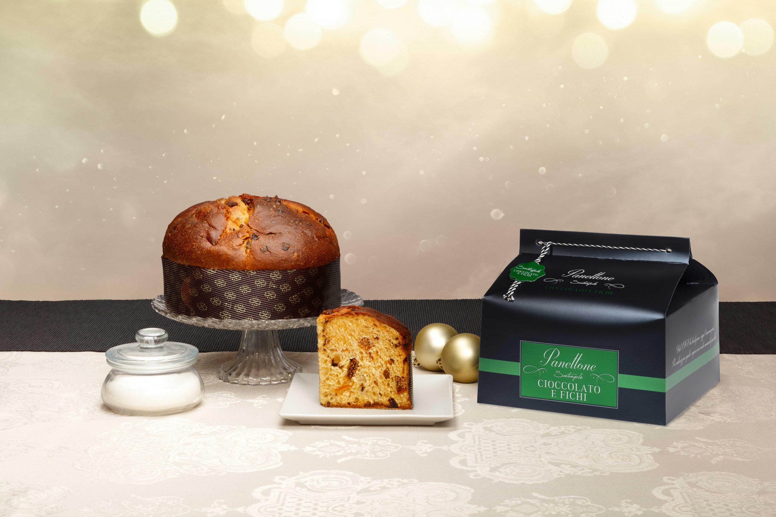 Pyragas Panettone SANTANGELO šokoladu bei figomis juodoje dėžėje 0,9kg