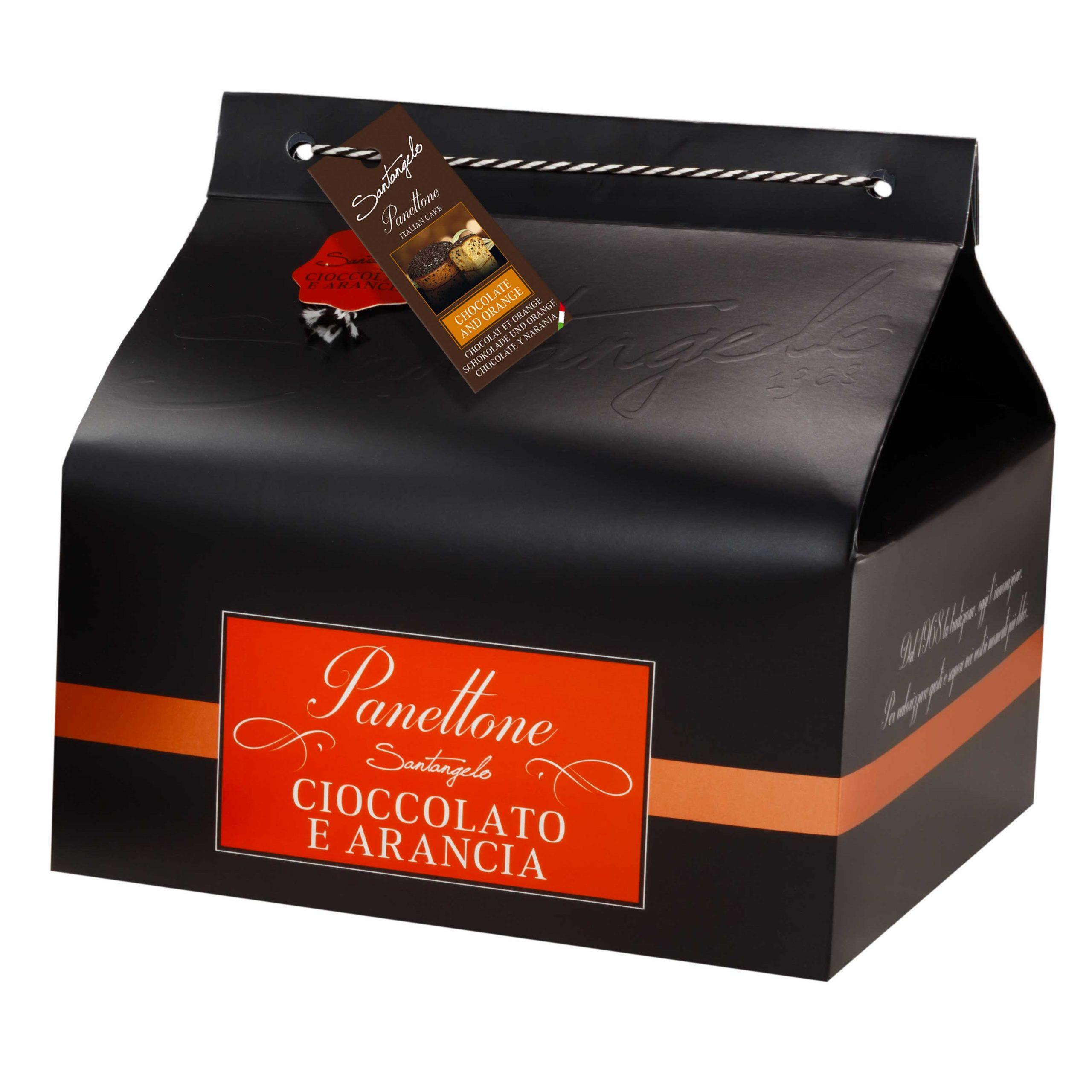 Pyragas Panettone SANTANGELO su šokoladu bei apelsinais juodoje dėžėje 0,9kg